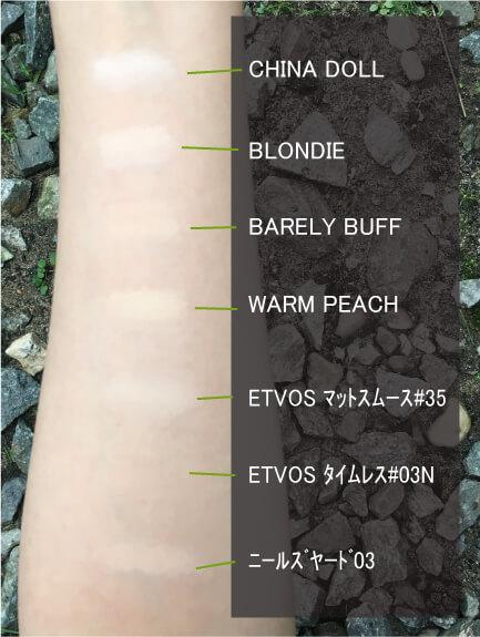 リリーロロのファンデ色比較