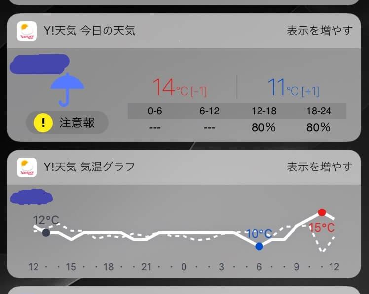 iPhone_ウィジェット_天気