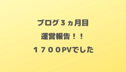 【運営報告】ブログ3ヵ月目のPVは1700PV!毎日更新も達成!